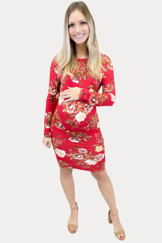 red floral maternity bodycon