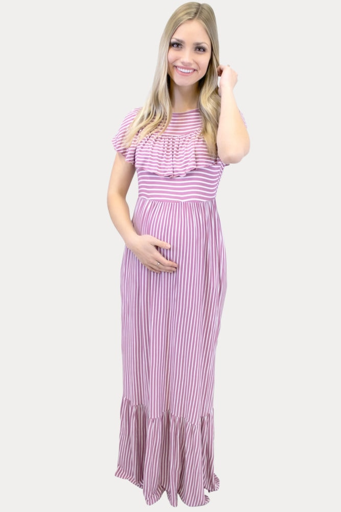 mauve striped maternity maxi
