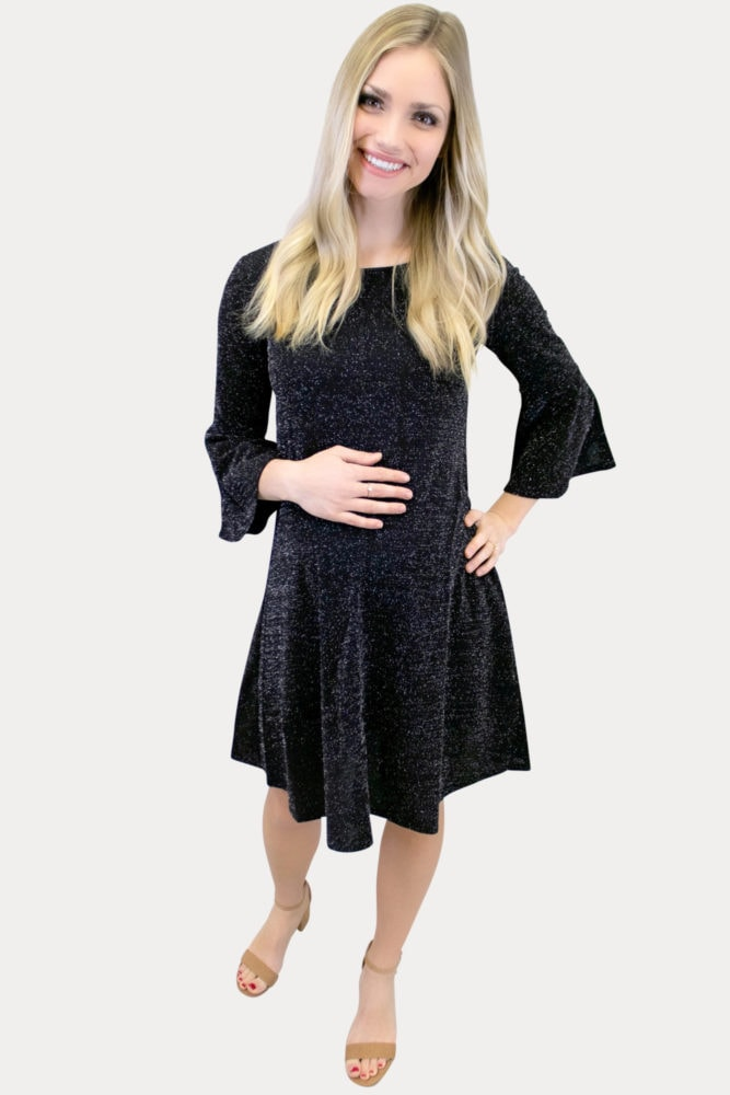 black sparkly maternity dress