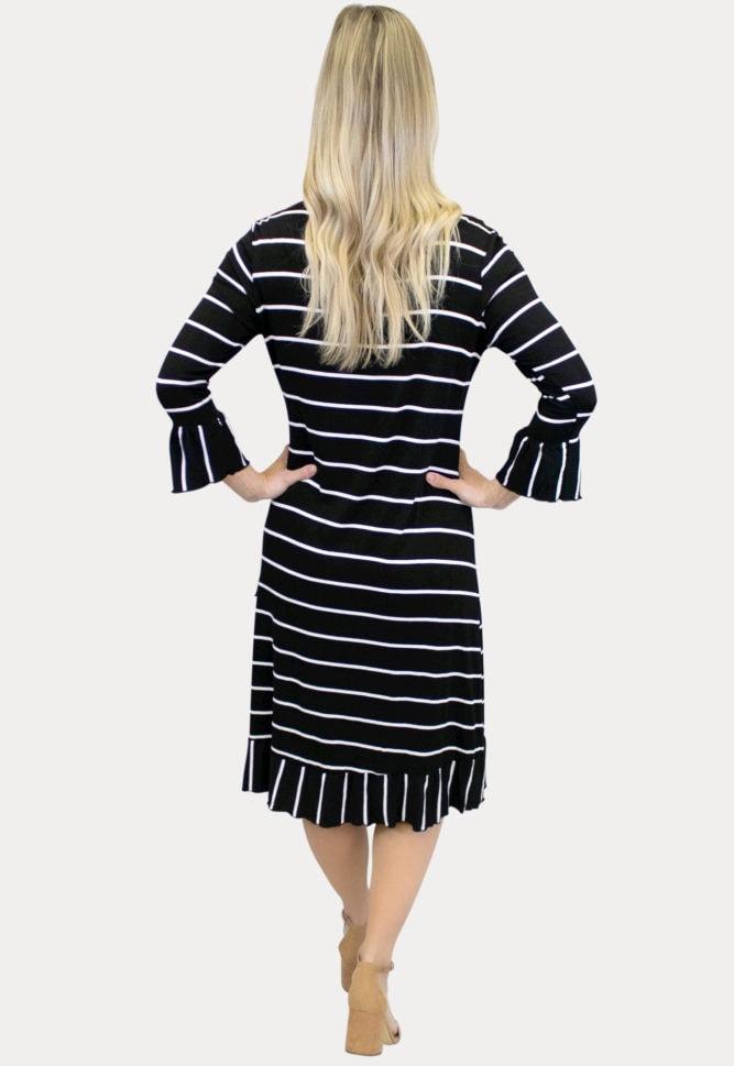 striped black maternity dress
