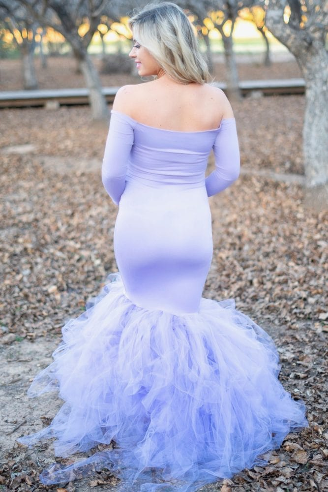 long sleeve princess maternity gown