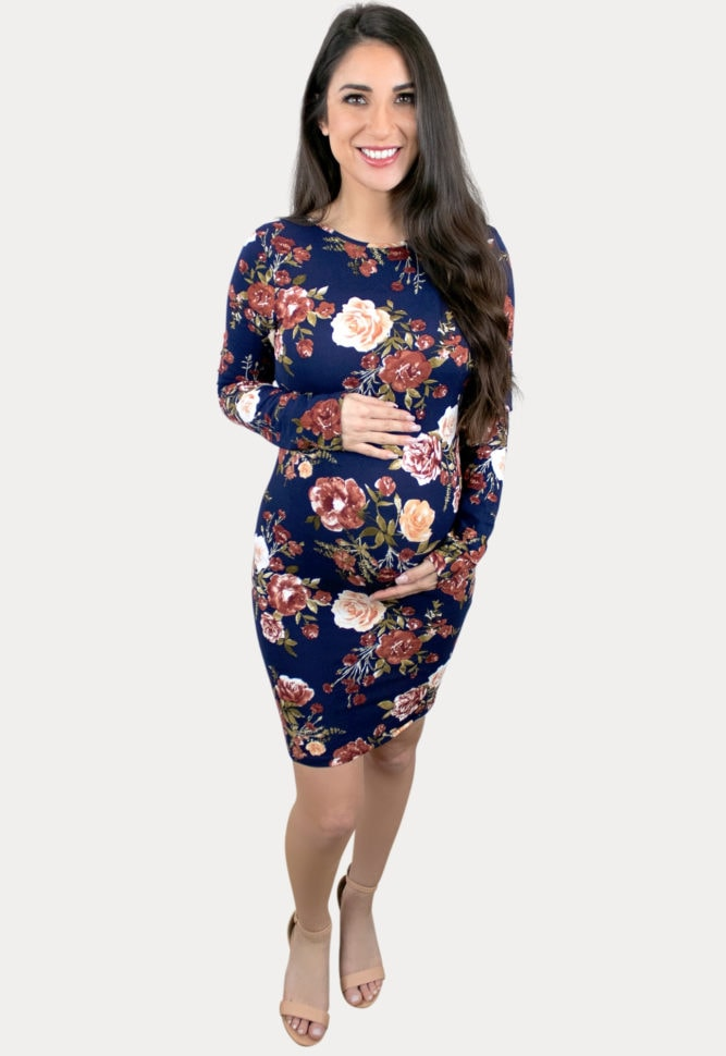 navy floral maternity bodycon
