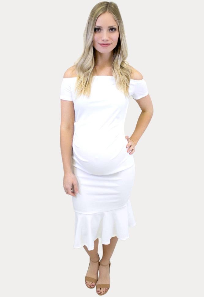 off the shoulder flare maternity dress
