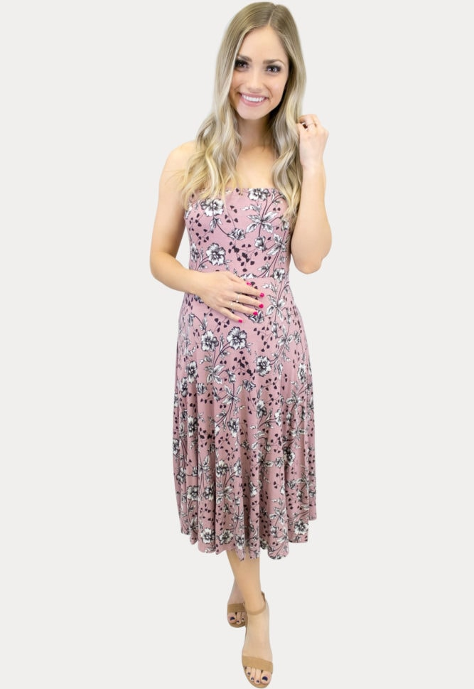 Strapless mauve Floral Maternity Dress
