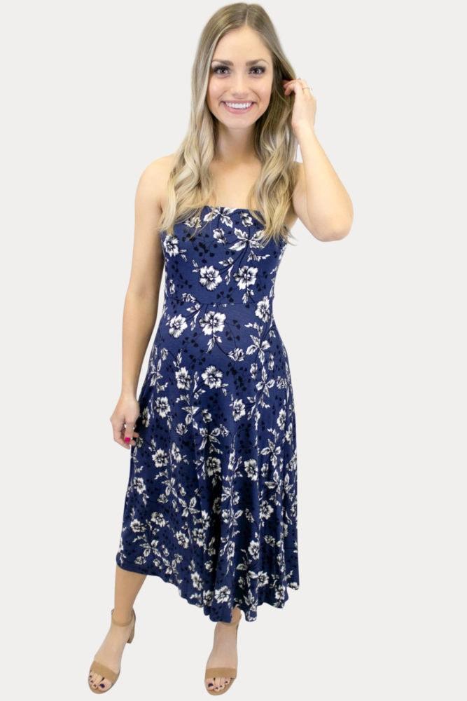 Strapless Navy Floral Maternity Dress