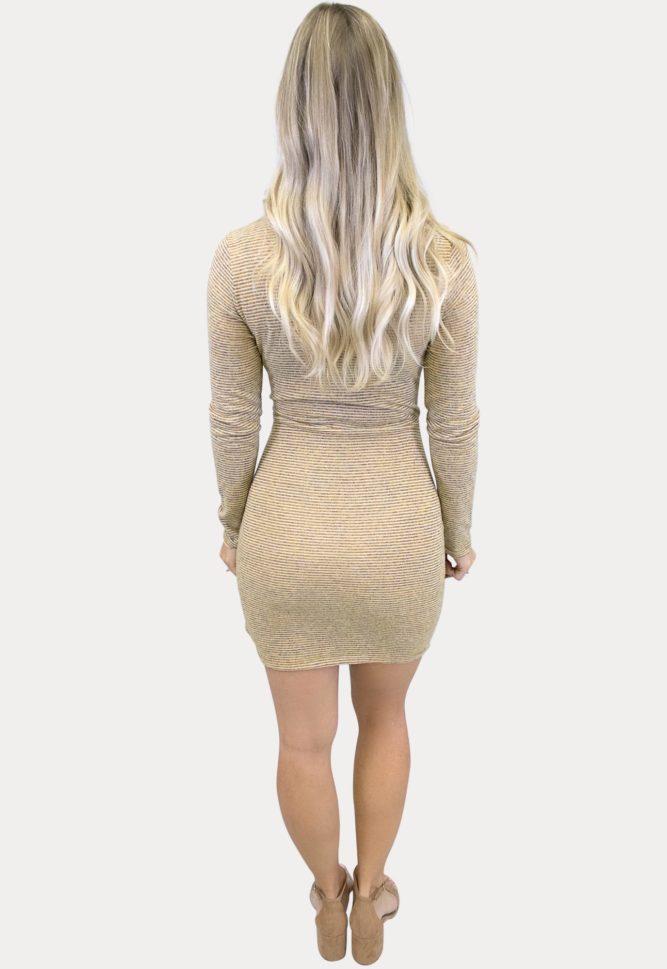 mustard striped maternity dress
