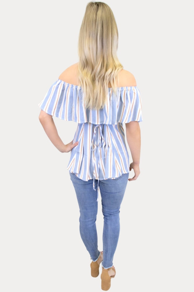 striped blue maternity top