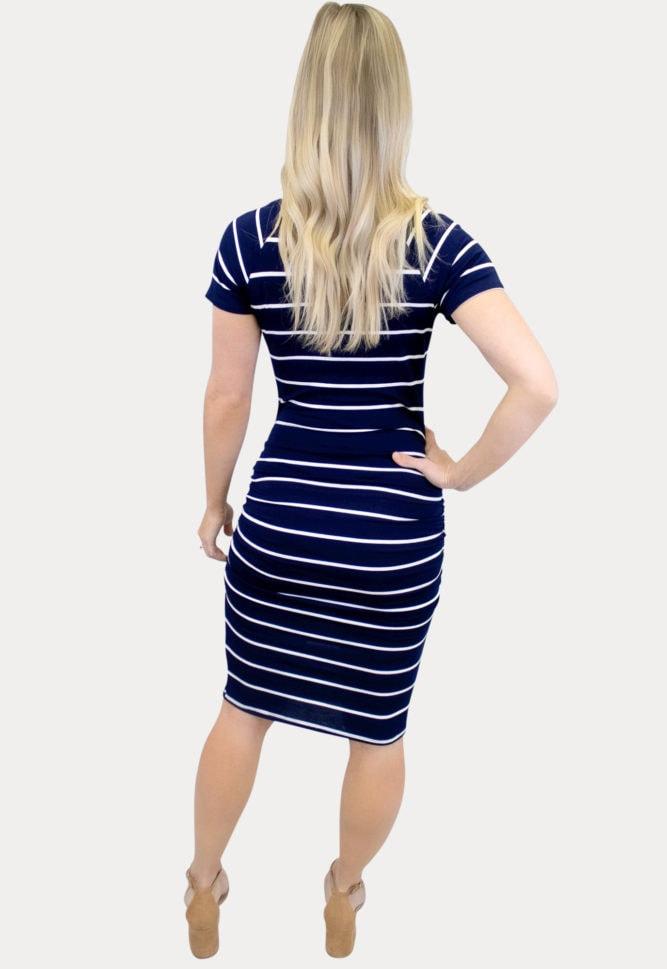 navy stripe maternity dress