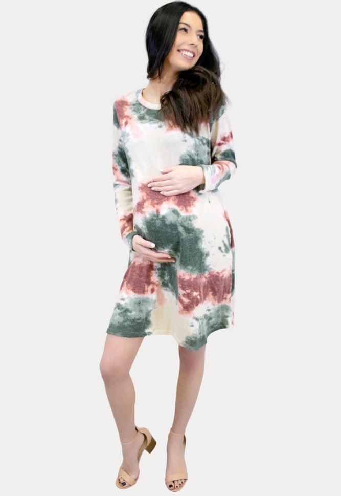 cream tie dye maternity dress