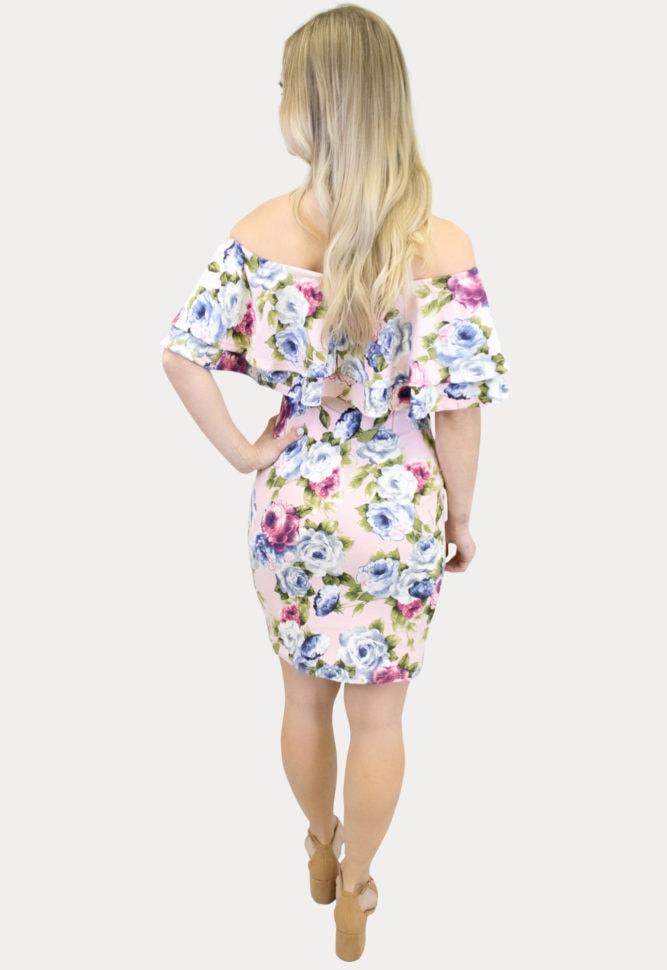 double ruffle maternity dress