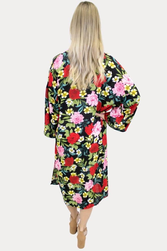 floral maternity kimono in black