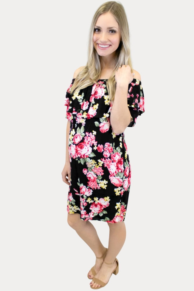 Black and pink maternity dress