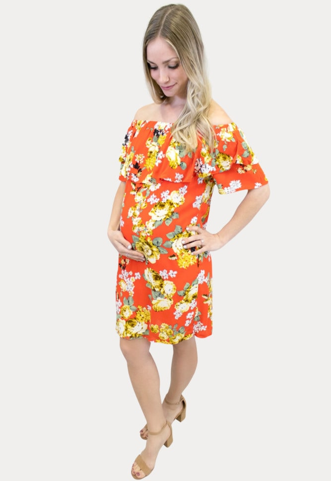 red and yellow maternity dress