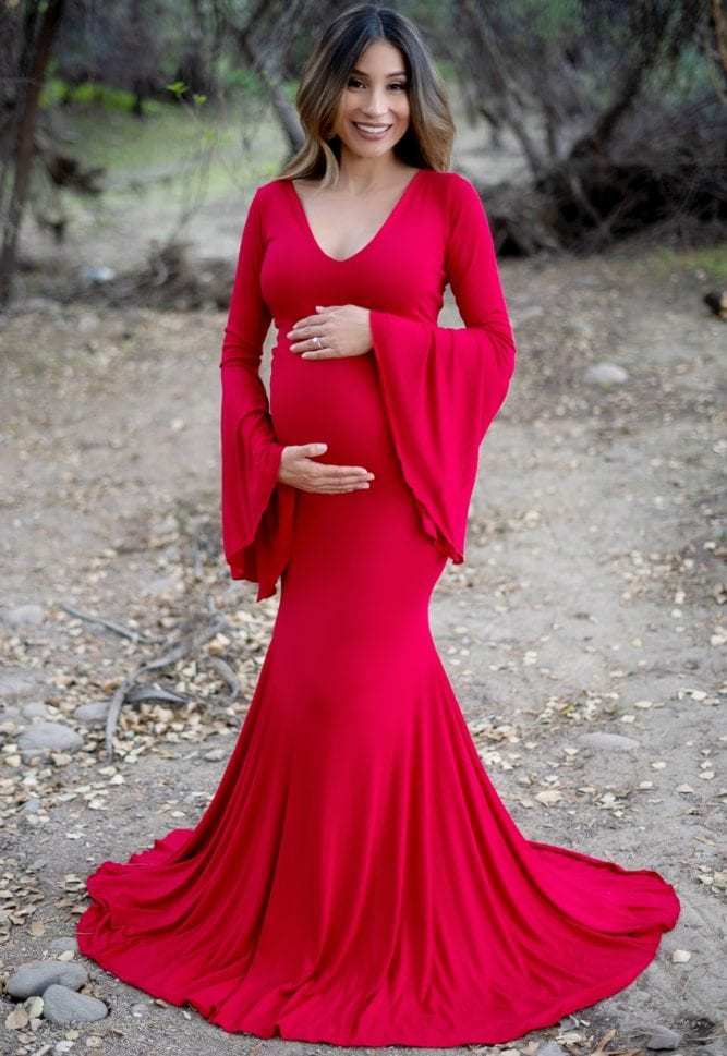 bell sleeve maternity flare gown