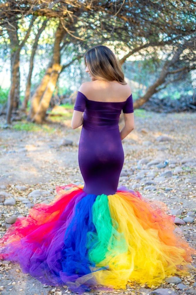 rainbow maternity tulle gown