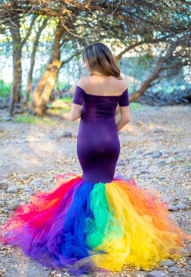 rainbow maternity tulle gown
