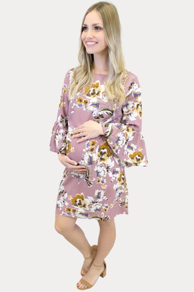 mauve bell sleeve maternity dress