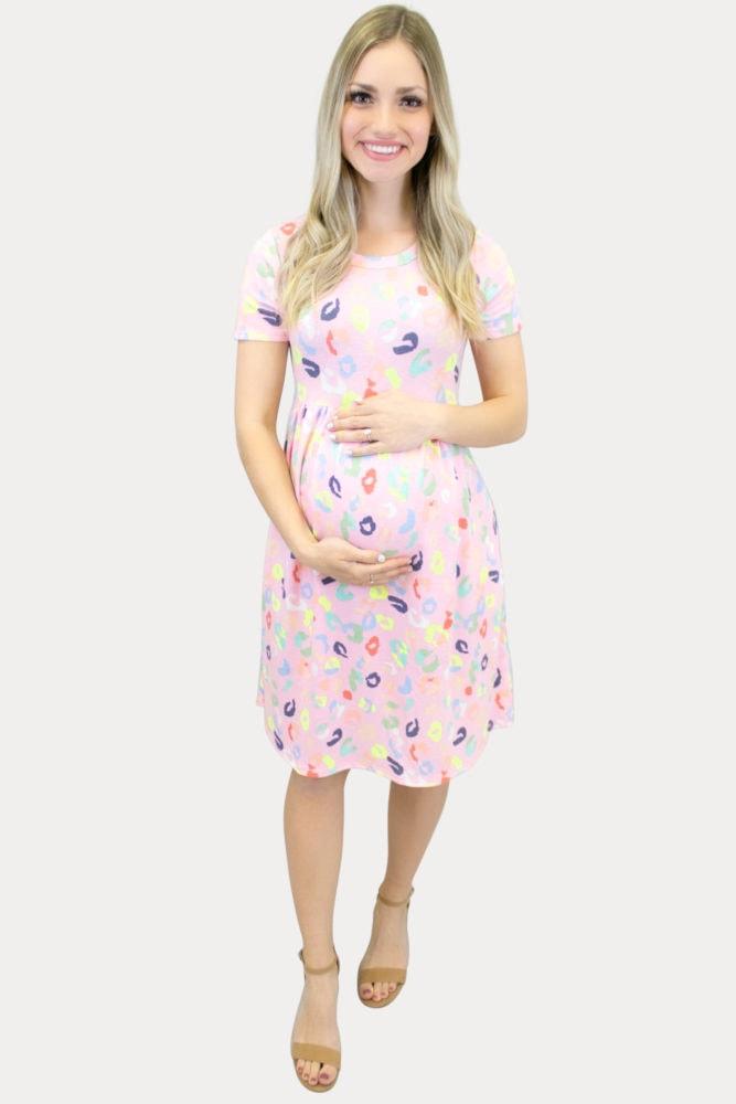Pink Party Print Maternity Dress