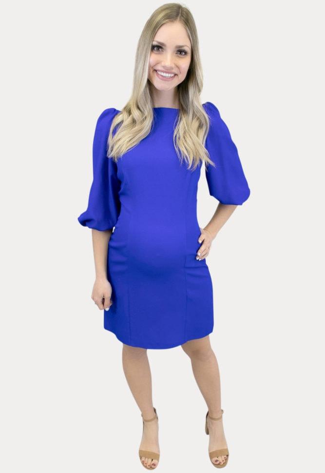 puff sleeve maternity dress