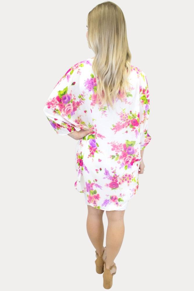 sheer white floral maternity kimono