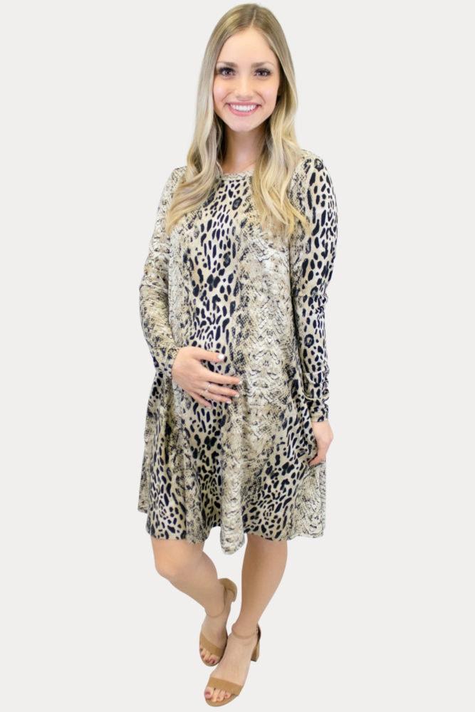 snow leopard maternity dress