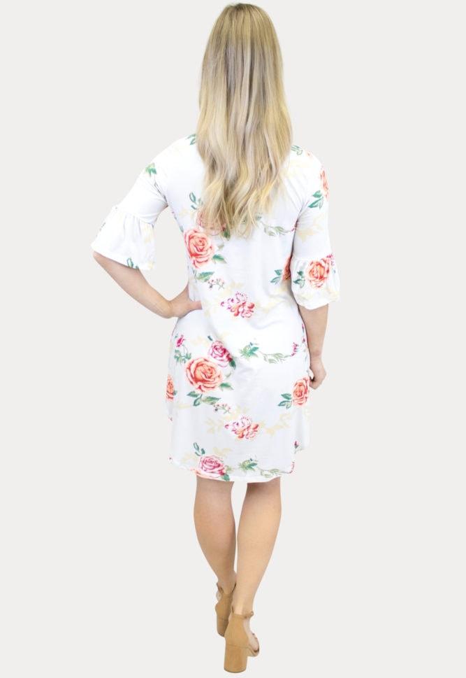 White Floral Ruffle Sleeve Dress