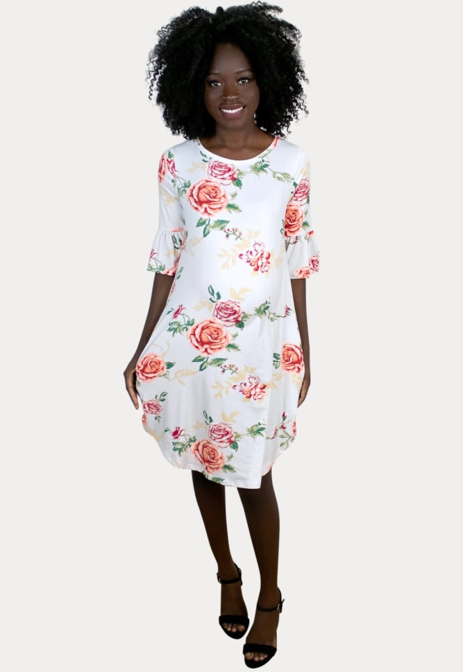 Floral Ruffle Sleeve Maternity Dress
