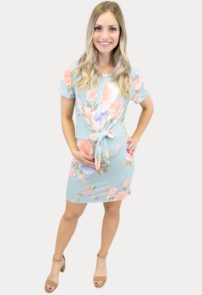 blue tie front maternity dress