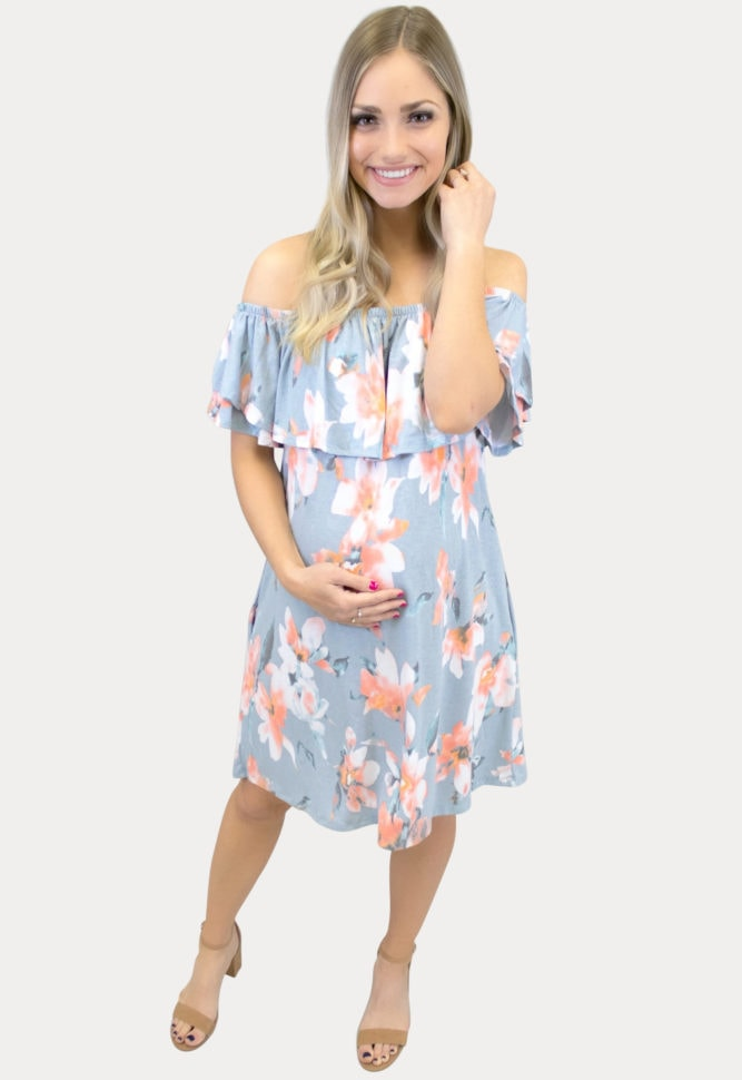 floral maternity dress in blue