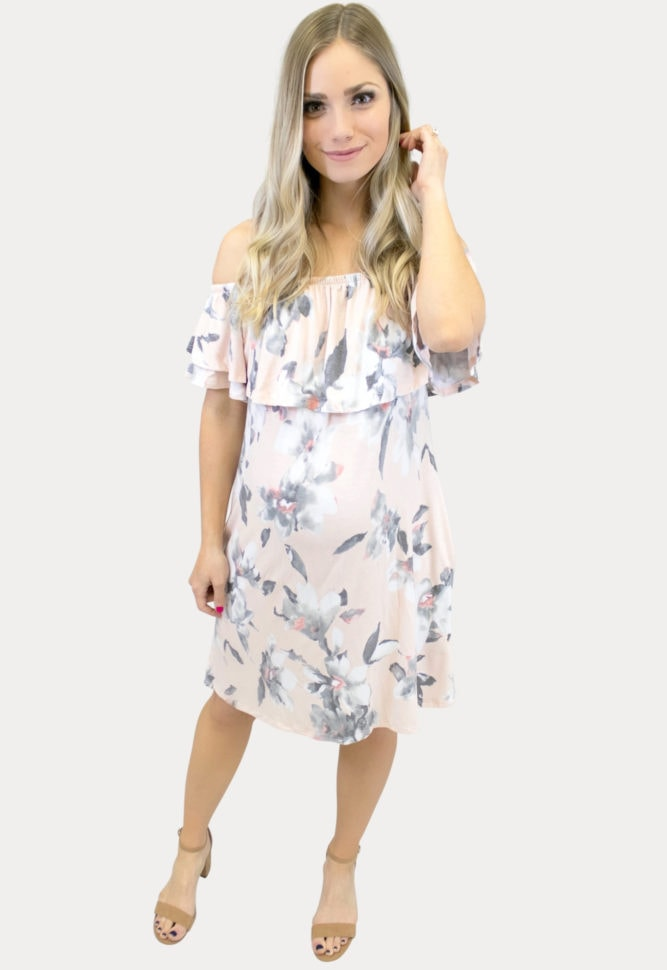 floral maternity dress in blush