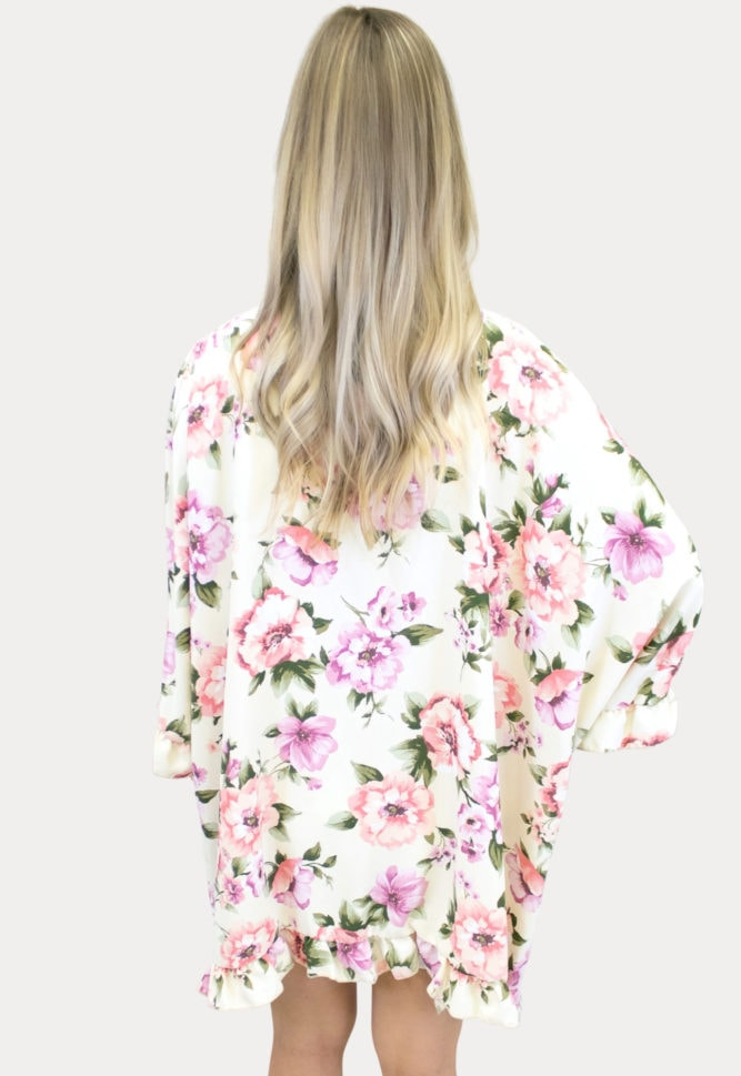 floral ruffle maternity kimono