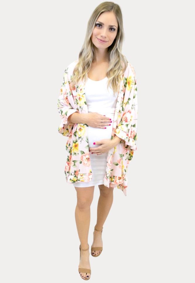 yellow ruffle maternity kimono
