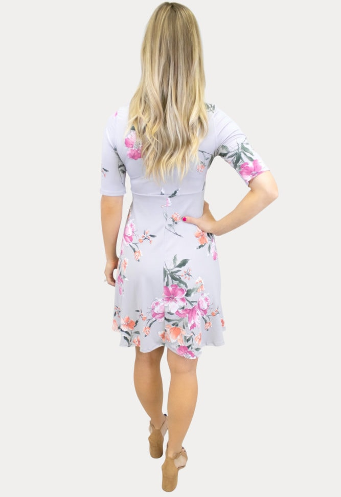 grey floral maternity dress