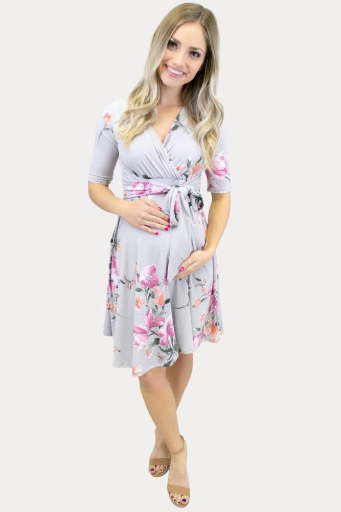 grey floral maternity dress