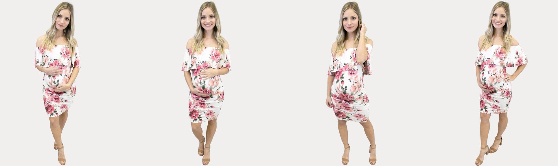 Off the shoulder maternity florals