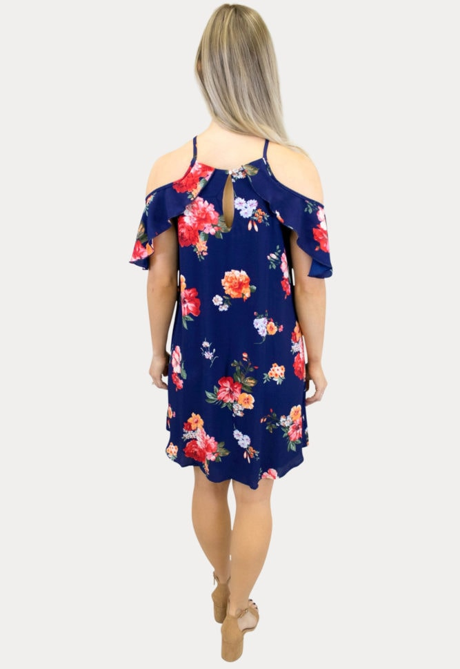 floral blue maternity dress