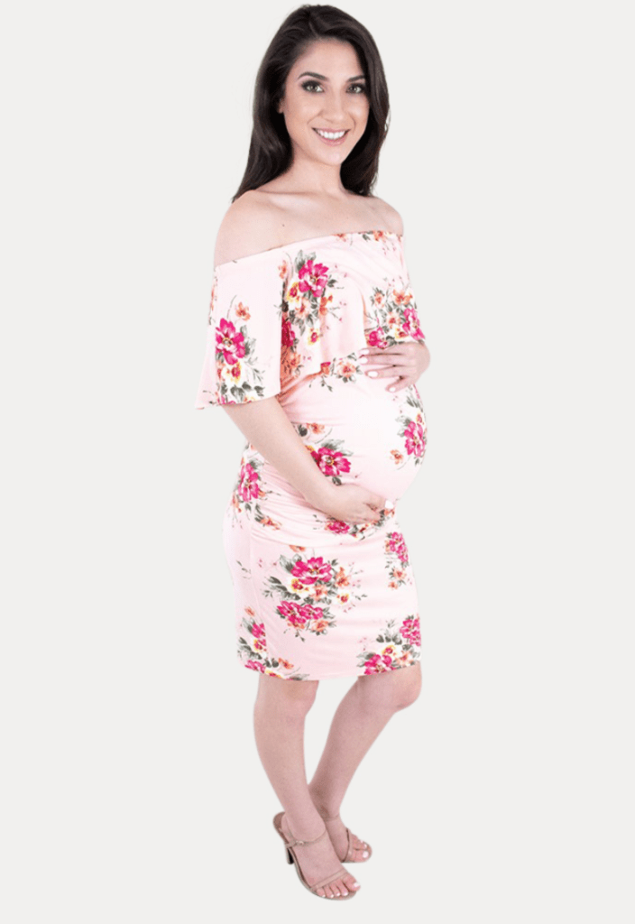 off the shoulder floral maternity bodycon