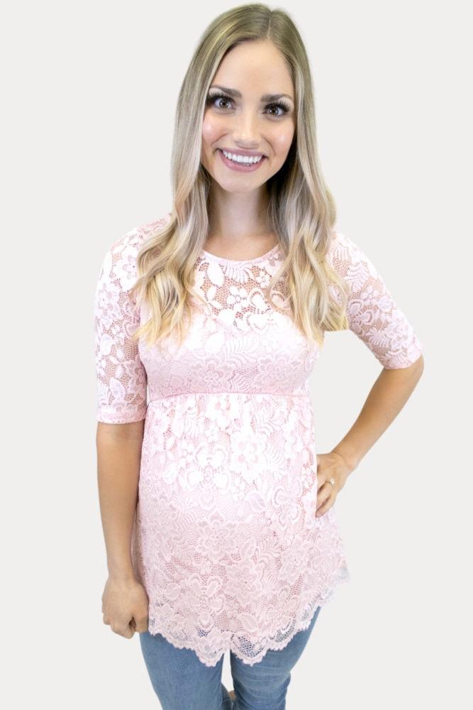 Blush lace maternity top