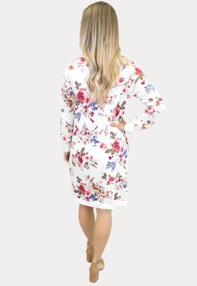 cream floral maternity cardigan