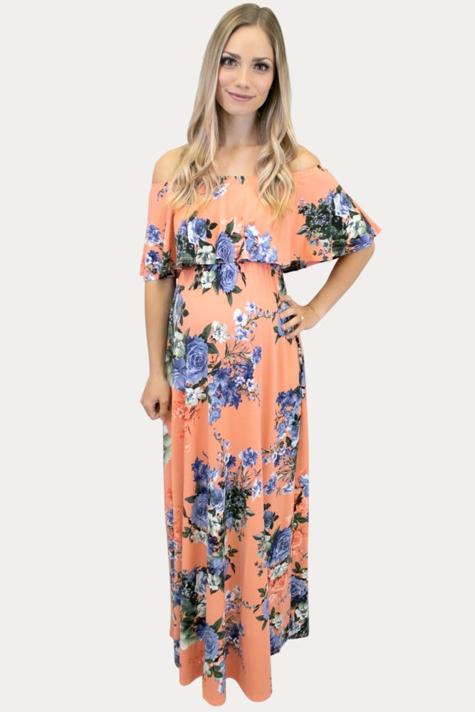 Creamsicle floral maternity maxi