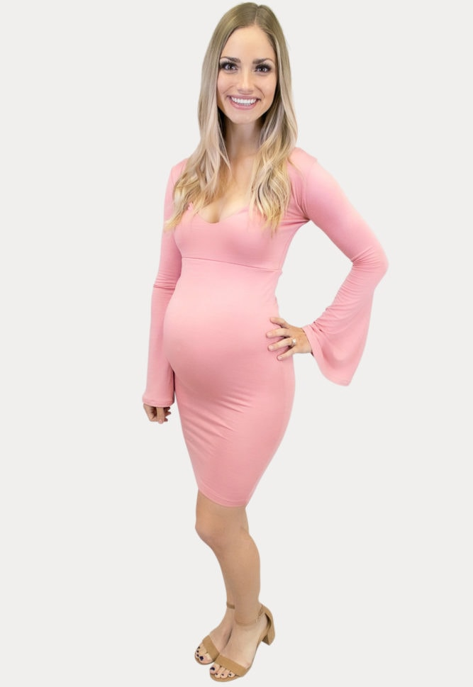 Deep Scoop Bell Sleeve Maternity Dress