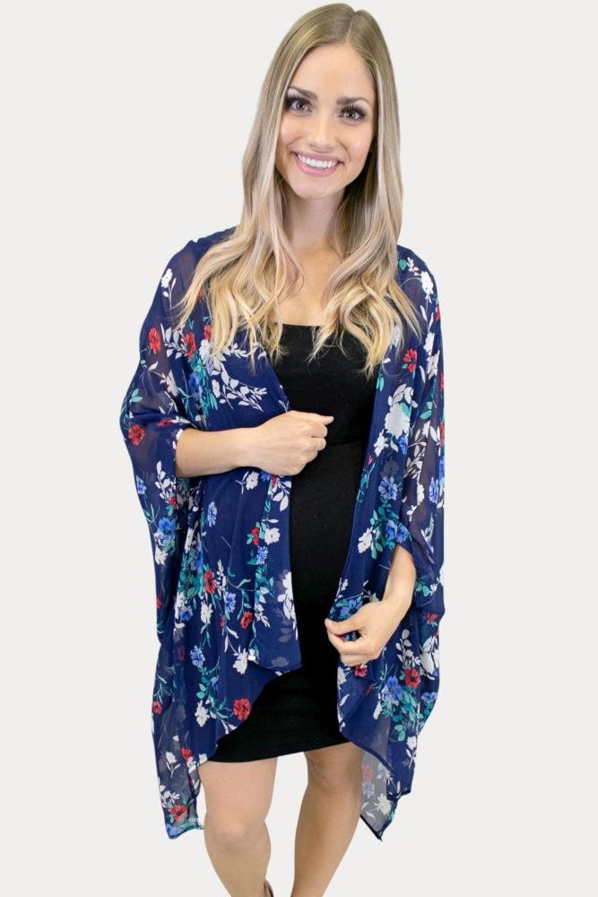 floral maternity kimono in navy