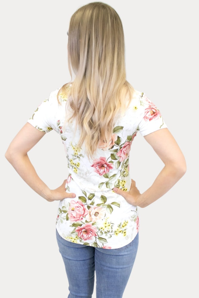 floral sweetheart maternity top