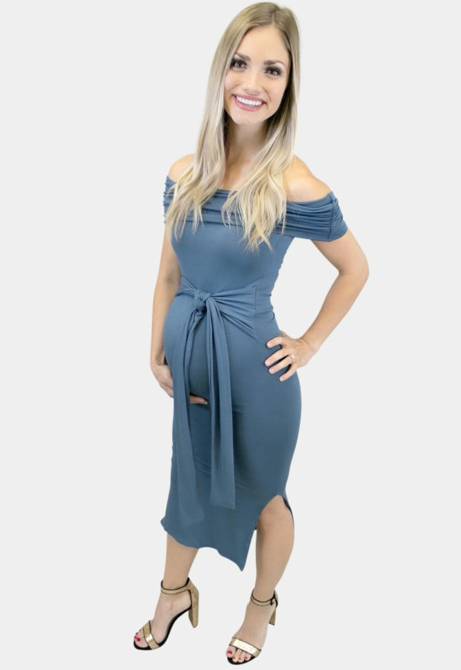 fold over tie front maternity dress