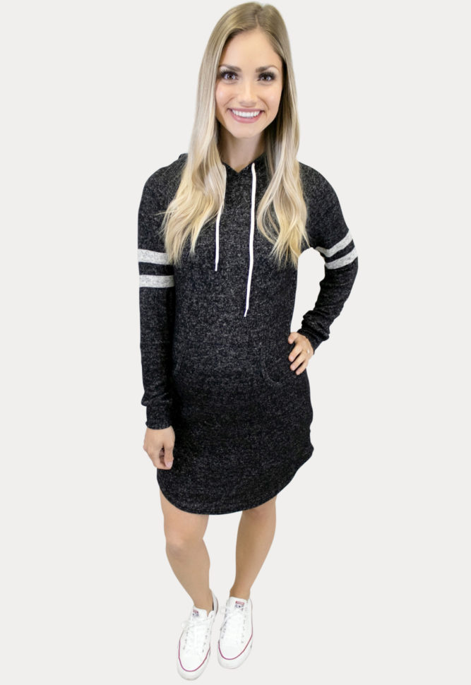 sporty hooded maternity dress