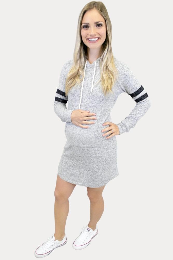 hooded sporty maternity dress