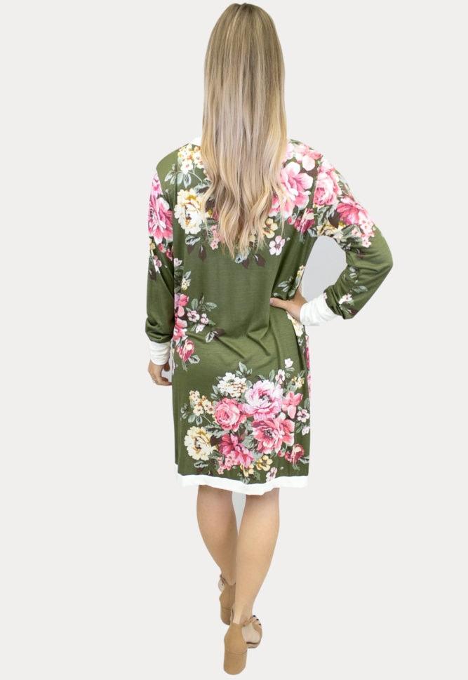 moss floral maternity cardigan