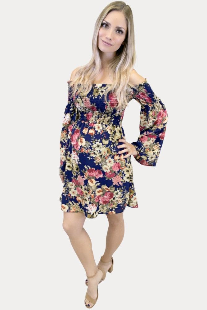 Floral Smocked Maternity Dress