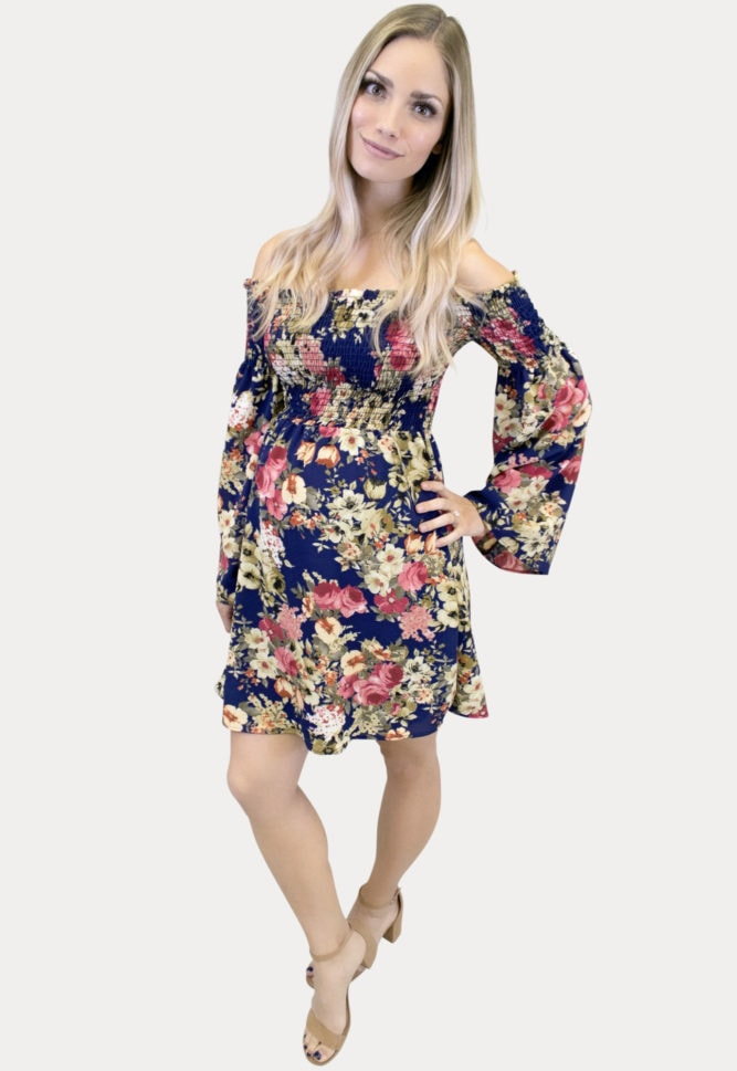 Floral Smocked Maternity Dress