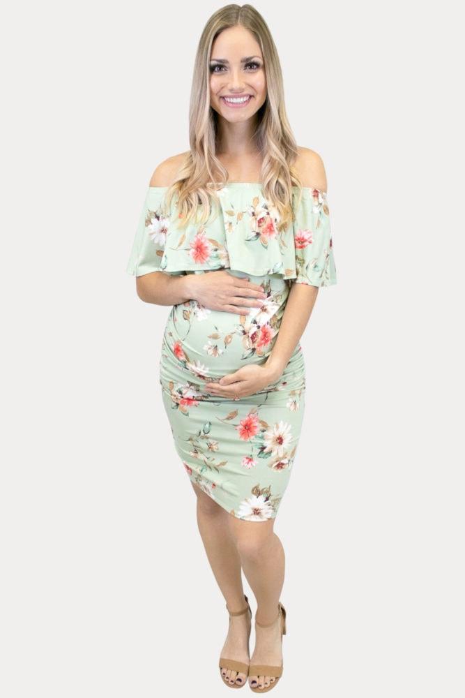 Succulent floral maternity dress